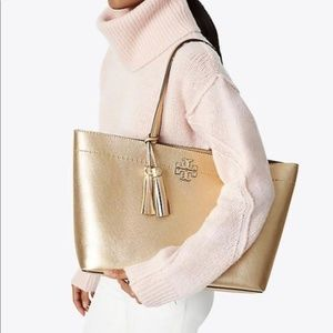 Tory Burch McGraw metallic gold leather tote bag